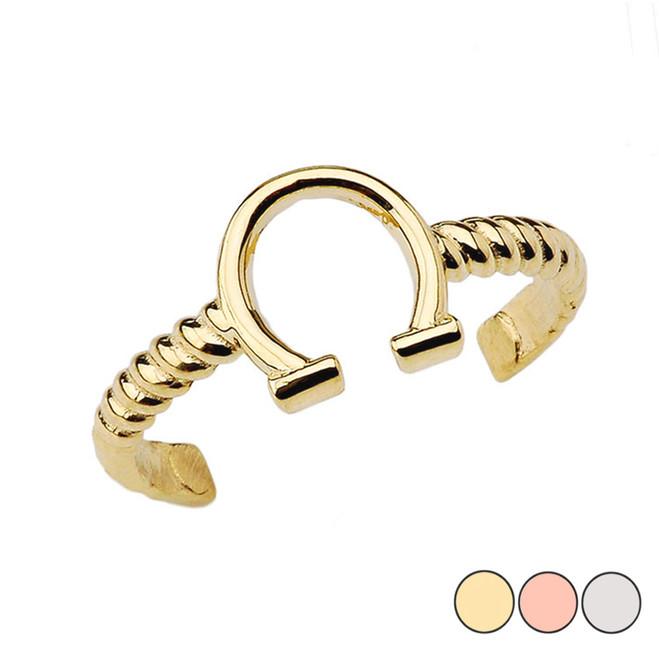 Horseshoe Rope Toe Ring in Gold (Yellow/Rose/White)