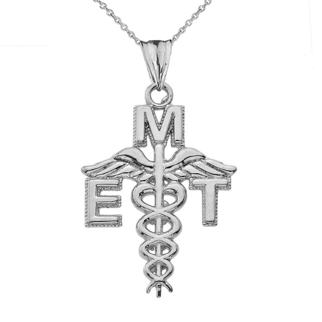 Caduceus EMT Pendant Necklace in White Gold