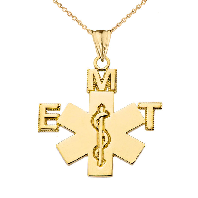 Emergency Medical Technician (EMT) Pendant Necklace in Yellow Gold