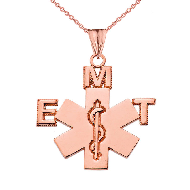 Emergency Medical Technician (EMT) Pendant Necklace in Rose Gold
