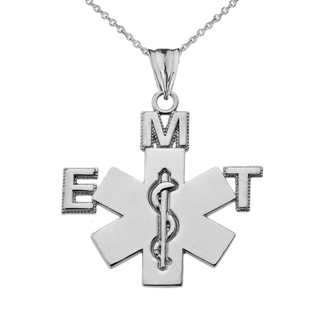 Emergency Medical Technician (EMT) Pendant Necklace in White Gold