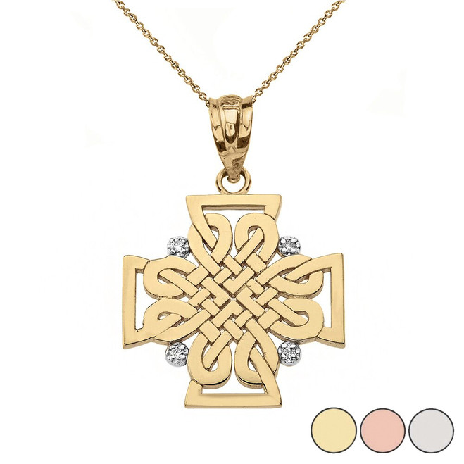 Diamond Celtic Woven Cross Pendant Necklace in Gold (Yellow/Rose/White)