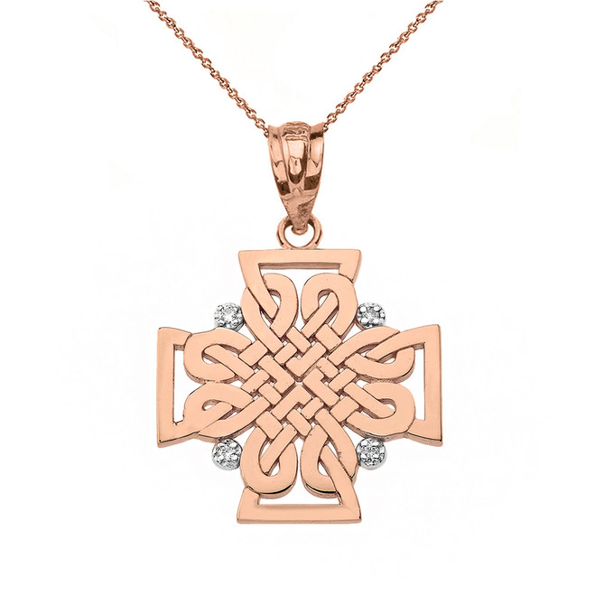 Solid Rose Gold Diamond Celtic Woven Cross Pendant Necklace