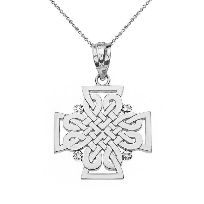 Sterling Silver CZ Celtic Woven Cross Pendant Necklace