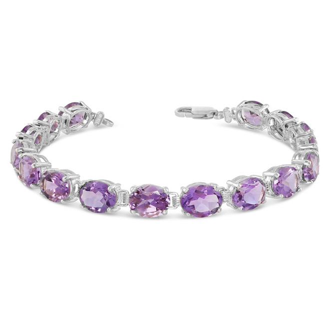 Oval Genuine Amethyst (9 x 7) Tennis Bracelet in Sterling Silver