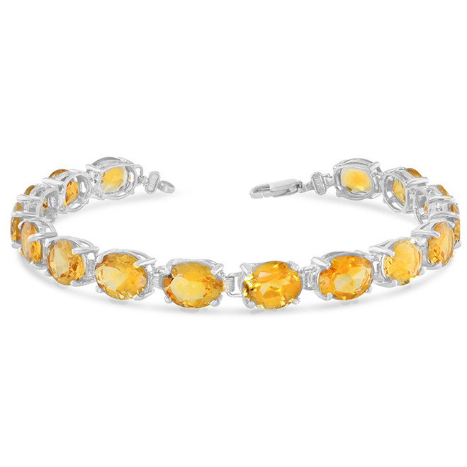 Oval Genuine Citrine (9 x 7) Tennis Bracelet in Sterling Silver