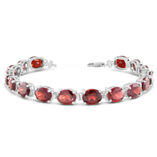 Oval Genuine Garnet (9 x 7) Tennis Bracelet in Sterling Silver