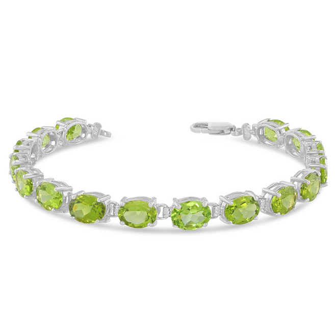 Oval Genuine Peridot (8 x 6) Tennis Bracelet in Sterling Silver
