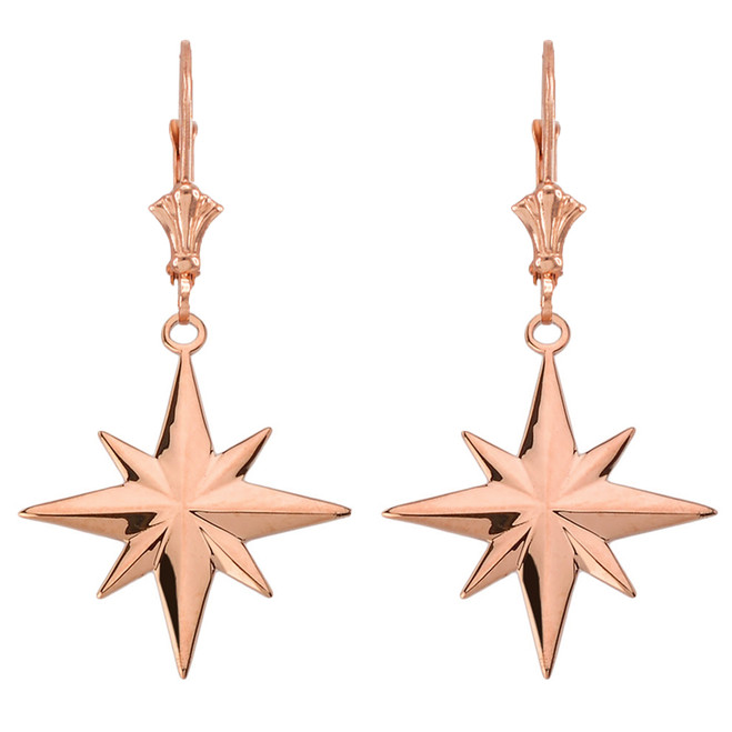 North Star Leverback Earrings in 14K Rose Gold