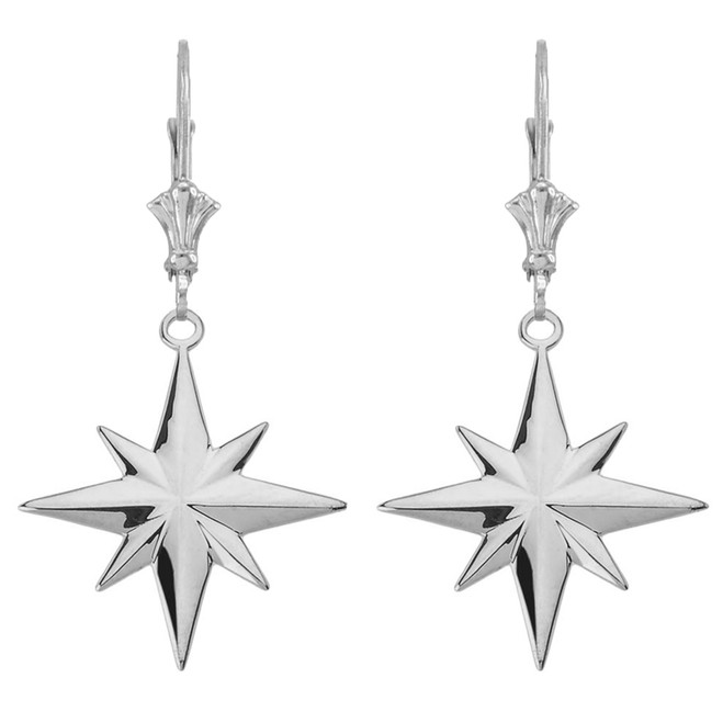 North Star Leverback Earrings in 14K White Gold