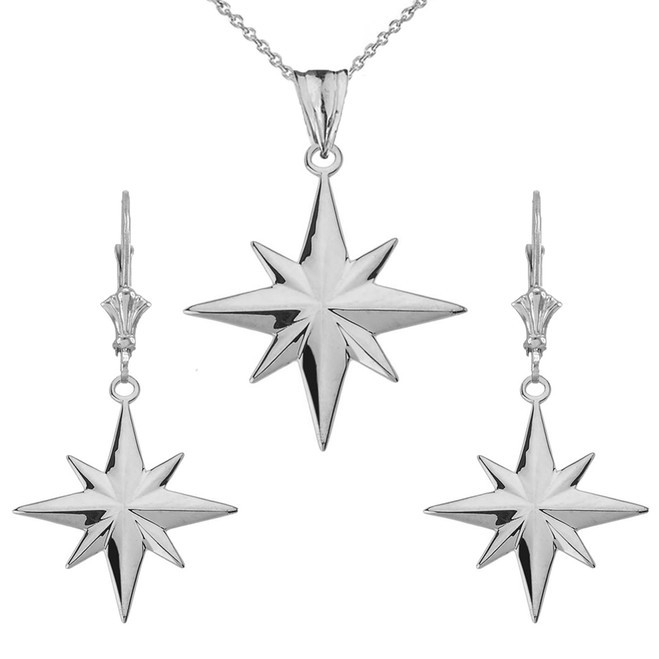 North Star Pendant Necklace Set in Sterling Silver