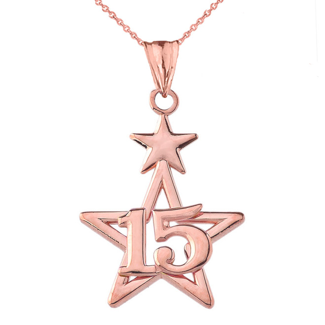 Dainty Quinceañera Star Pendant Necklace in Rose Gold