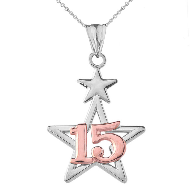 Dainty Quinceañera Star Pendant Necklace in Two Tone White Gold