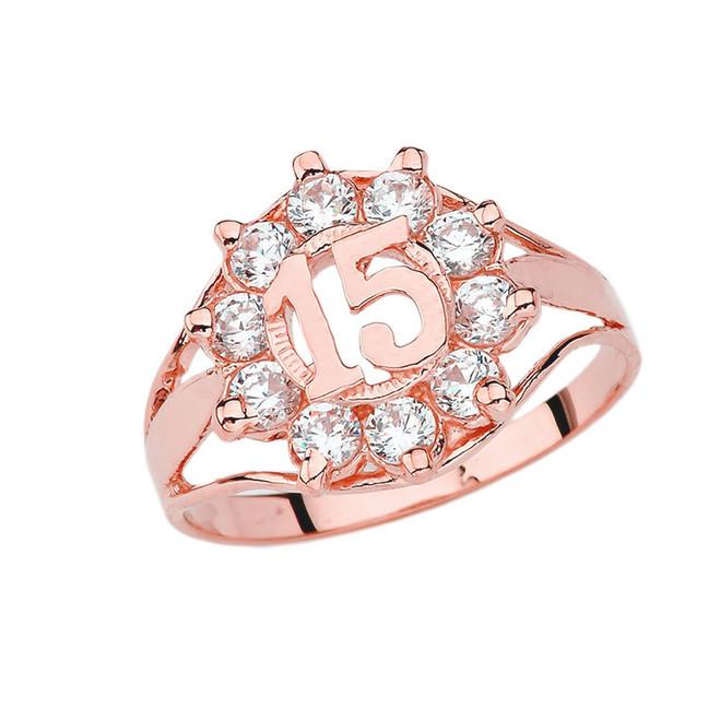 Quinceañera Cubic Zirconia Ring in Rose Gold