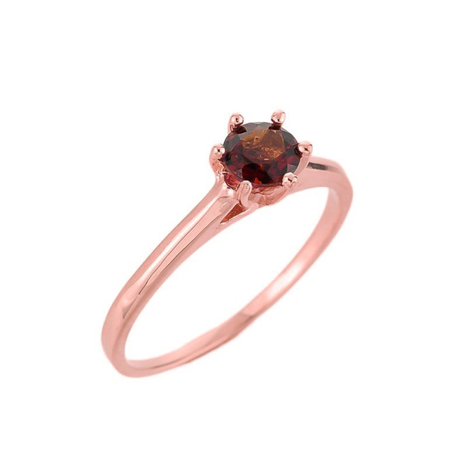 10k Rose Gold Ladies Garnet Gemstone Solitaire Ring