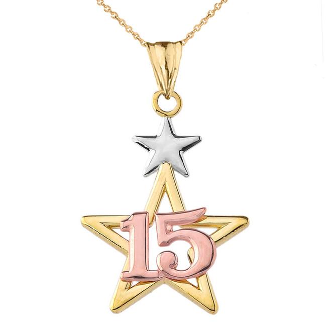 Dainty Quinceañera Star Pendant Necklace in Tri-Color Gold