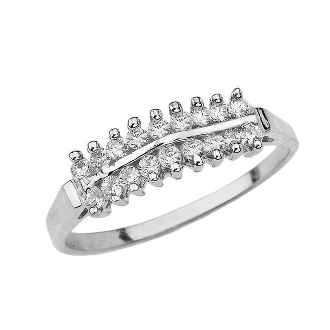 Elegant ½ CT C.Z Pyramid Ring in Sterling Silver