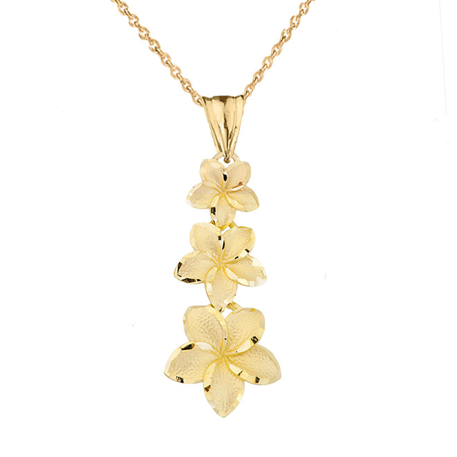 Elegant Plumeria Flower Pendant Necklace in Yellow Gold