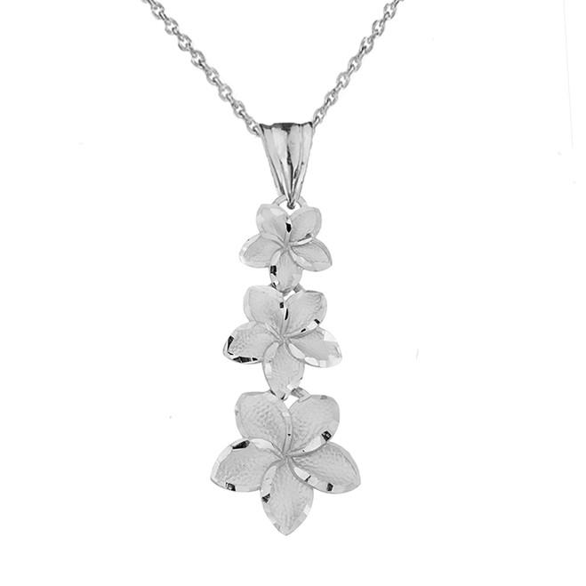 Elegant Plumeria Flower Pendant Necklace in White Gold