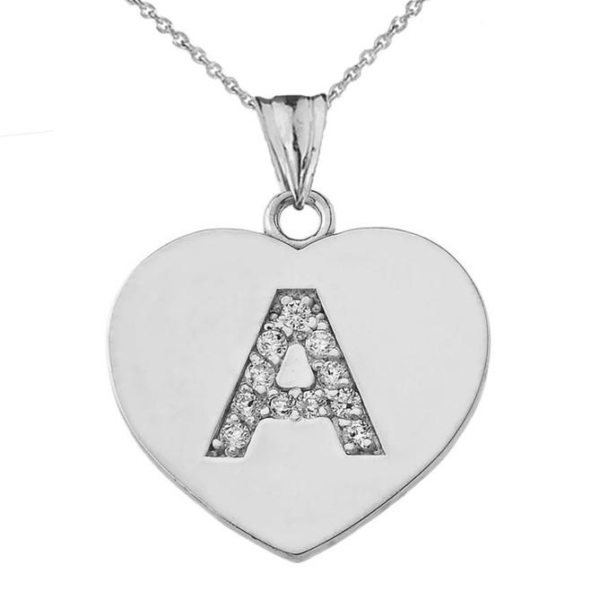 """Cubic Zirconia Initial """"A"""" Heart Pendant Necklace in Sterling Silver"""
