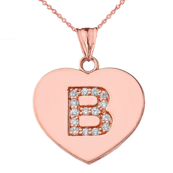 """Diamond Initial """"B"""" Heart Pendant Necklace in Rose Gold"""
