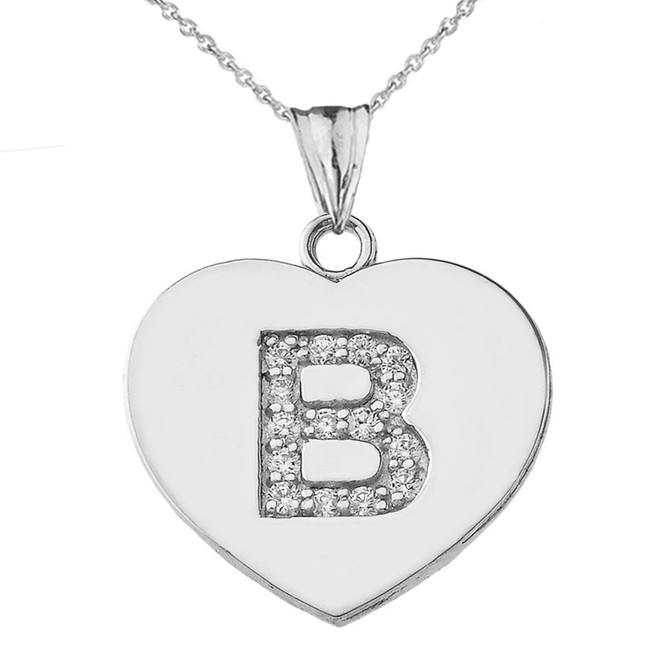 """Diamond Initial """"B"""" Heart Pendant Necklace in White Gold"""