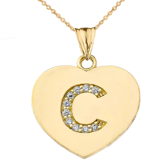 """Diamond Initial """"C"""" Heart Pendant Necklace in Yellow Gold"""