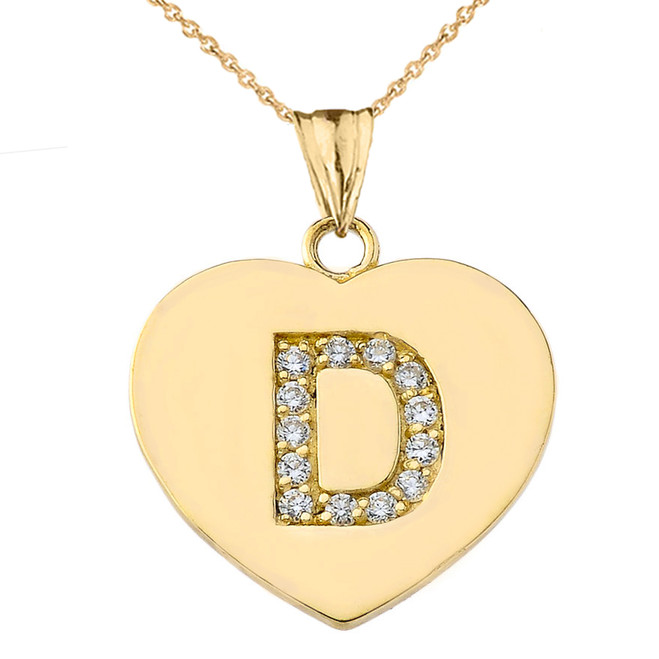 """Diamond Initial """"D"""" Heart Pendant Necklace in Yellow Gold"""