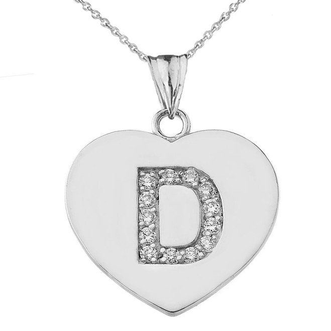"""Diamond Initial """"D"""" Heart Pendant Necklace in White Gold"""