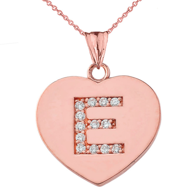 """Diamond Initial """"E"""" Heart Pendant Necklace in Rose Gold"""