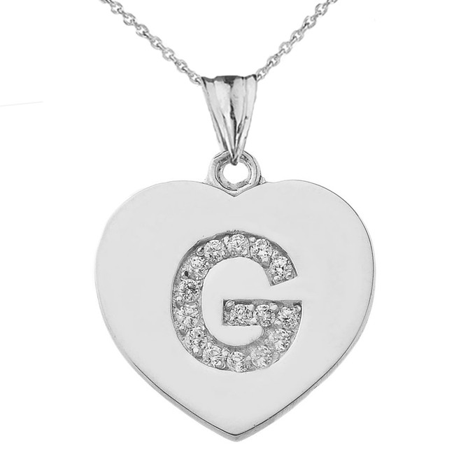"""Diamond Initial """"G"""" Heart Pendant Necklace in White Gold"""