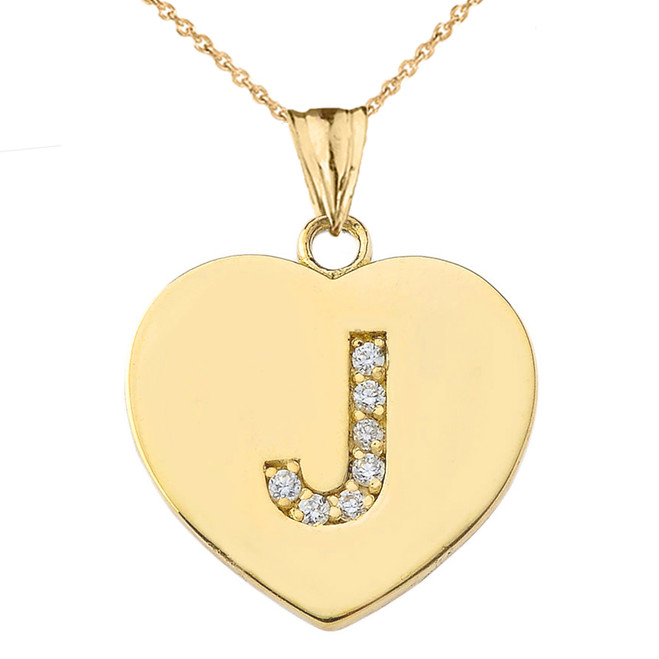 """Diamond Initial """"J"""" Heart Pendant Necklace in Yellow Gold"""