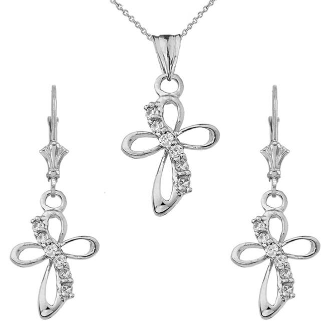 14K Dainty Modern Cross Cubic Zirconia Pendant Necklace Set in White Gold