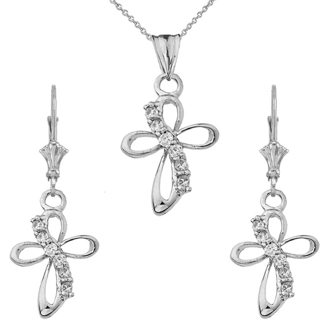 Dainty Modern Cross Cubic Zirconia Pendant Necklace Set in Sterling Silver