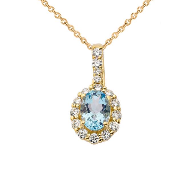 Cubic Zirconia & Genuine Aquamarine Pendant Necklace in Yellow Gold