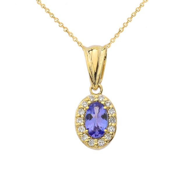 Diamond & Genuine Tanzanite Pendant Necklace in Yellow Gold