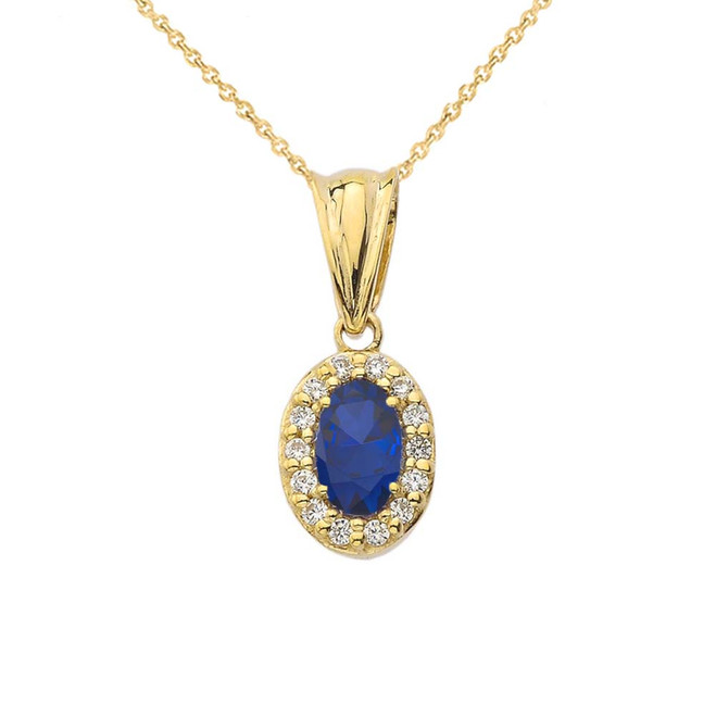 Diamond & Genuine Sapphire Pendant Necklace in Yellow Gold