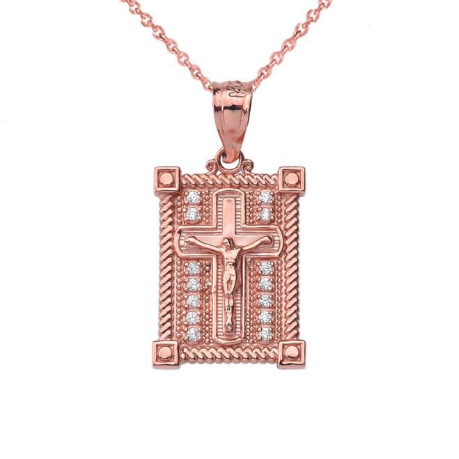 Diamond Boxed Cross Pendant Necklace in Rose Gold