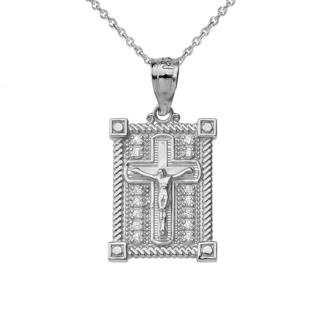 Diamond Boxed Cross Pendant Necklace in White Gold