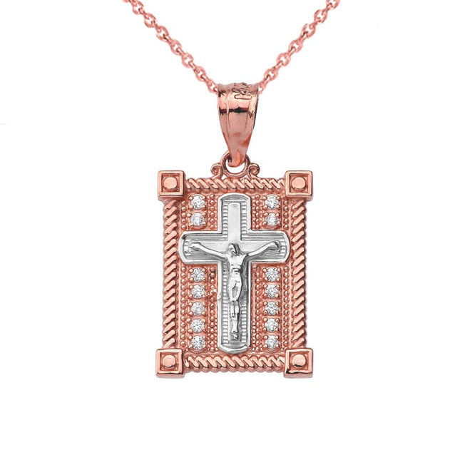 Diamond Boxed Cross Pendant Necklace in Two-Tone Rose Gold