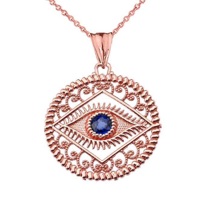 Round Filigree Evil Eye Pendant Necklace in Rose Gold