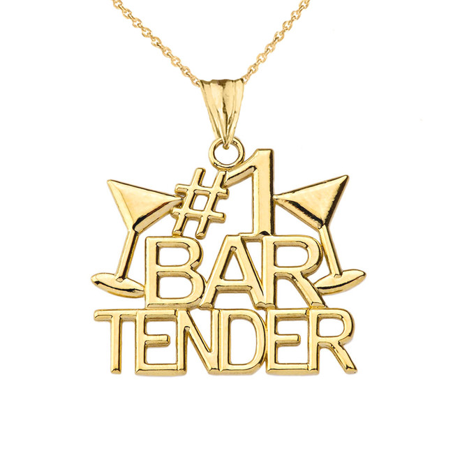 #1 Bartender Pendant Necklace in Yellow Gold