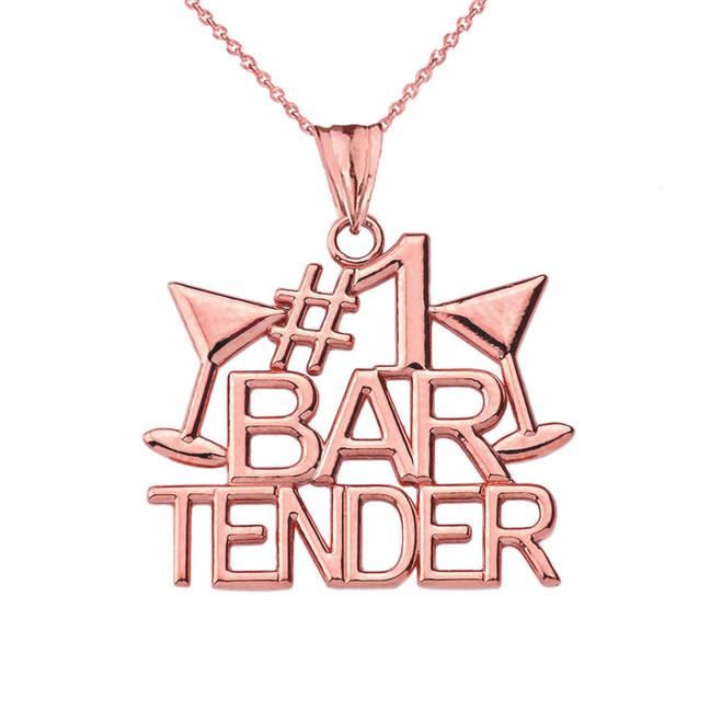 #1 Bartender Pendant Necklace in Rose Gold