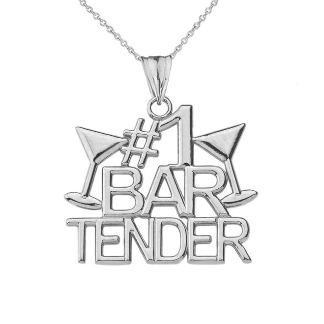 #1 Bartender Pendant Necklace in White Gold