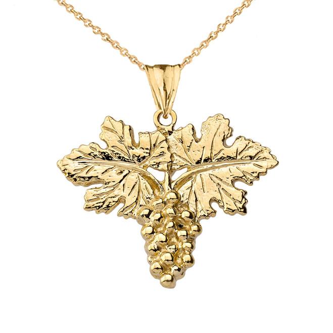 Grape Vine Pendant Necklace in Yellow Gold