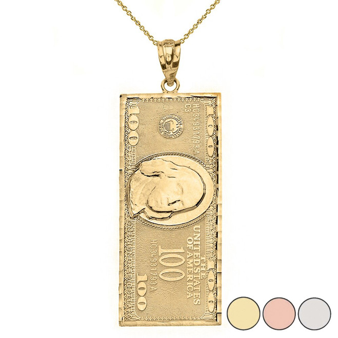 Benjamin Franklin United States American Hundred Dollar Bill  Pendant Necklace (Large) in Gold (Yellow/Rose/White)