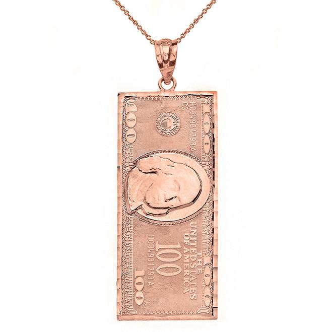 Solid Rose Gold Benjamin Franklin United States American Hundred Dollar Bill  Pendant Necklace (Large)