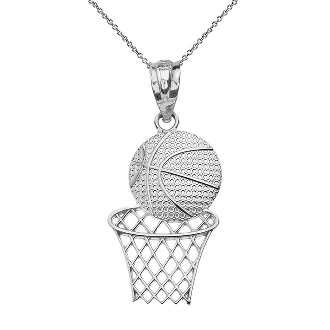 Solid White Gold Textured Basketball Hoop Pendant Necklace