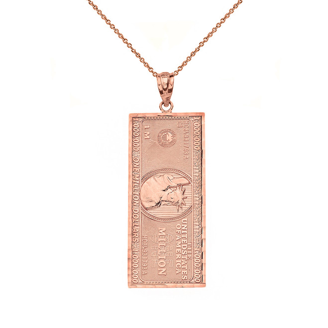 Solid Rose Gold Double Sided Million Dollar Bill Money Pendant Necklace (Small)
