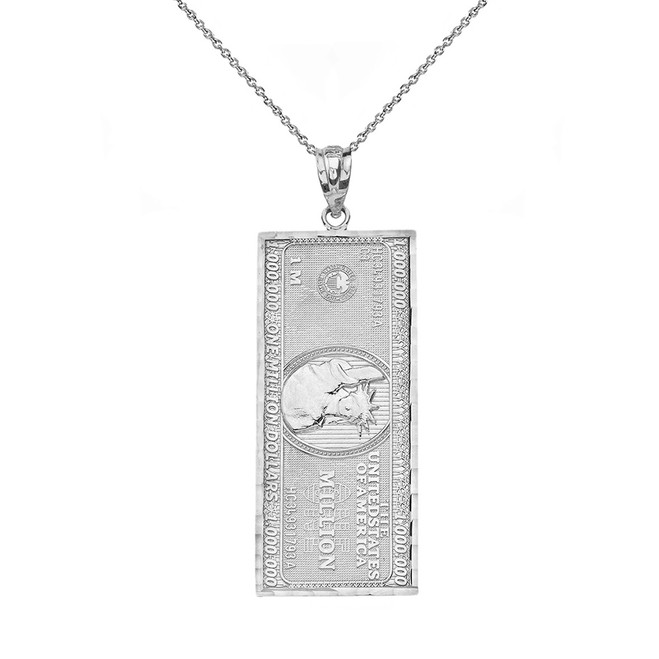 Solid White Gold Double Sided Million Dollar Bill Money Pendant Necklace (Small)